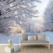 winter woods wall mural white trees forest wallpaper bedroom photo home decor