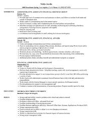 Administrative Assistant Job Resume Examples Financial Administrative Assistant Resume Samples Velvet Jobs 86