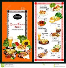 Restaurant Menu Template German Cuisine Restaurant Menu Template Design Stock Vector