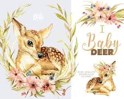 <b>Little Baby Deer</b>. Watercolor animal clipart floral wreath | Etsy in ...