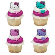 24 Hello Kitty Happy Everything Cupcake Cake Rings Birthday Party