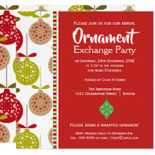 Ornaments Exchange Party Christmas Invitation