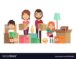 New Home Cartoon Images Family Moving New Home Happy People Packing