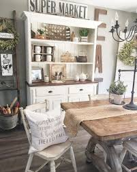 large wall decor ideas for kitchen with rustic hutch using white paint color