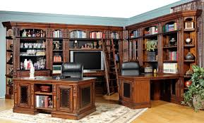 alluring home ideas office design with dark brown wooden l shaped appealing furniture varnished book rack alluring home ideas office