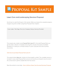 A Sample Of A Proposal Sample Lawn Care Proposal Letter Fill Online Printable