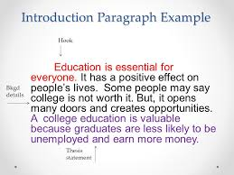 value of an education essay ppt video online  introduction paragraph example