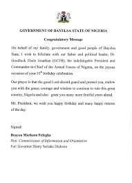 bayelsa state bayelsarestoration watch page  bayelsa state wishes president goodluck jonathan a happy birthday