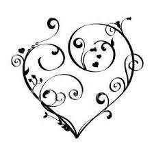 Scroll Heart Scroll Tattoo Designs Red Heart With Scrollwork Design