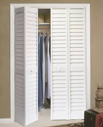 bifold louvered closet doors painted white color with vents