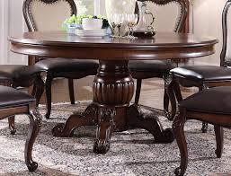 mcferran d3600 6060 round cherry finish pu linen chairs dining table set 5pcs order