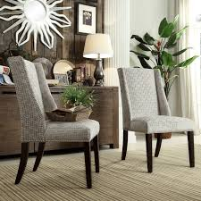 Harlow Wingback Dining Chair with Nailheads Wood/Velvety Fret Link (Set of  - Inspire Q. Image 4 of