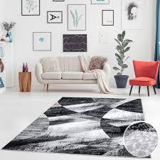 Teppich Flachgewebe Flachflor Modern Patchwork Look Schwarz Grau