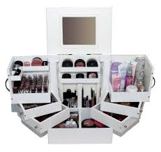 Luxury deluxe wood cosmetics box with mirror by Lori Greiner