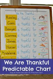 Predictable Chart Thanksgiving Literacy Predictable Chart For Preschool