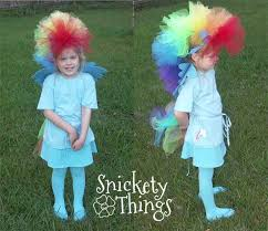 rainbow dash was finished off with a blue t shirt tights and a skirt that matched her favorite color so we had them already
