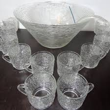 vintage anchor hocking soreno clear glass punch bowl and set of