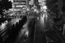 Japan white black monochrome street cityscape night rain road photography  Leica metropolis Tokyo infrastructure Jp light