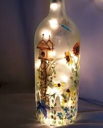 decorative bottles hand painted light wine bottle garden soul