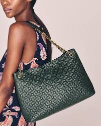 Tory Burch Marion Quilted Slouch Shoulder Bag, Jitney Green & Marion Quilted Slouch Shoulder Bag, Jitney Green Adamdwight.com