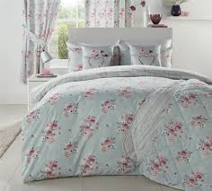 bunched fl flowers stripes duck egg blue pink double duvet cover