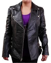 women s side buckle six pocket black biker leather jacket