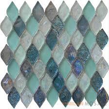 turquoise flame shaple lantern glass mosaic tile mg ufm99