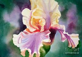 gold painting orange and purple iris by sharon freeman