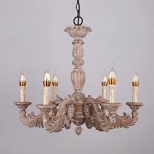 vintage ceiling light chandelier wood scrolling acanthus leaf