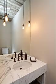 powder room lighting. Edison-light-fixtures-Powder-Room -Farmhouse-with-bare-bulb-pendant-Edison-bulb-industrial-marble1 Powder Room Lighting .