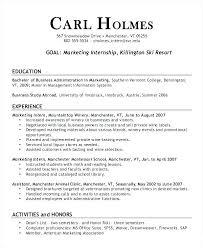 Sample Resume Marketing Sample Intern Resume Marketing Internship