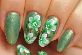 Nail Art. Green Design. Flowers. - YouTube