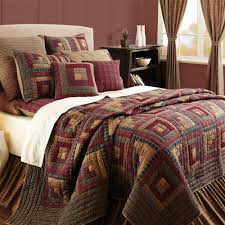 Burgundy Lodge Log Cabin Block Oversized Twin Queen Cal King Quilt ... & Burgundy Lodge Log Cabin Block Oversized Twin Queen Cal King Quilt Bedding  Set Adamdwight.com