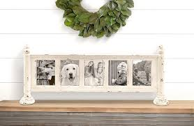 white distressed wood photo collage frame