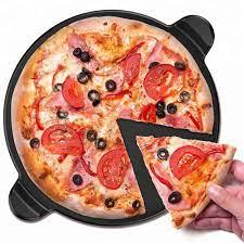 Gạch Pizza Bằng Gốm Để Nướng Và Lò Nướng-tay Cầm Không Dính Tròn 13 Inch  Tích Hợp Cho Nhà Bếp Hoặc Đồ Nướng Ngoài Trời - Buy Gốm Bánh Pizza Đá Cho