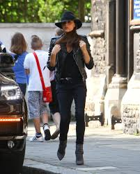 victoria beckham london balenciaga leather jacket maison michel trilby velvet hat saint lau paris booties 3