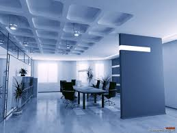 ... Blue Shade Interior Office Design With Unique Ceiling ...