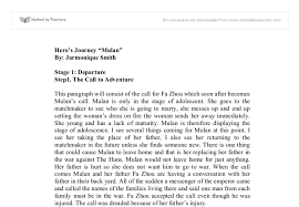 hero s journey mulan a level english marked by teachers com document image preview
