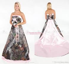 vintage strapless 2017 camo wedding dresses forest satin pink