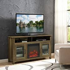 58 in rustic oak wood highboy fireplace tv stand