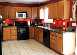 Red Cabinets In Kitchen Red Kitchen Wall Colors With Oak Cabinets Serenity Coastal Themed