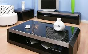 deluxe black glass topped coffee tables set design