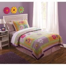 pink purple green fl girl bedding full queen quilt set cotton bedspread