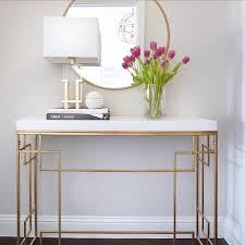 entryway console table round gold target mirror see this instagram photo by thedecort