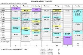 weekly study timetable
