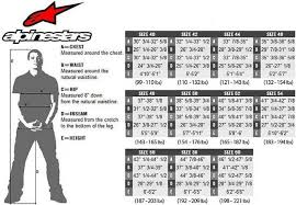 Motorcycle Jacket Size Chart Alpinestars Alpinestar Sizing Chart Motorcycle Parts For Quad Road