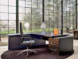 Exotic Serene And Luxurious Home Office Design Idea With Large Glass