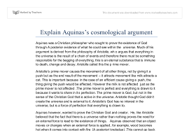 explain aquinass cosmological argument a level religious studies document image preview