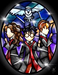 The Golden <b>Trio</b> and Hedwig. | Vidrieras <b>disney</b>, Arte de harry potter ...