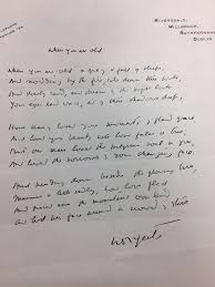 researching william butler yeats in special collections notes a manuscript of the poem when you are old written and signed by